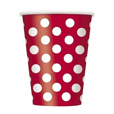 Ruby Red Decorative Dots 12 Oz Paper Cup - Pack Of 24