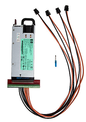 HP 1200W Power Supply 94% Platinum 4 PCI-E 14AWG Kit for Antminer S3, S1, S5