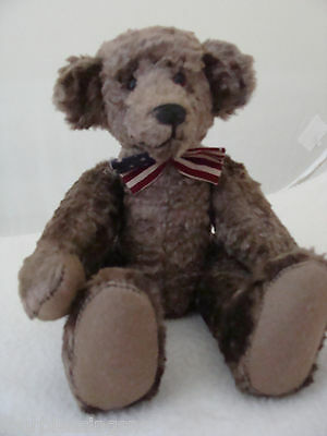 "Teddy Bear Artist Judy Senk 9"" Mohair Jointed Bear Tagged 1992-Patriotic Bow Tie"