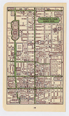 1951 Original Vintage Map Of Toronto Ontario Downtown Business Center