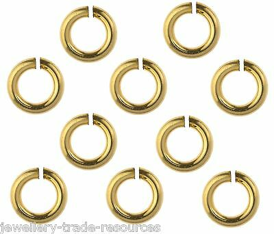 10x 14ct Yellow Gold Filled 6mm x 1mm Jump Rings Jewellery Making