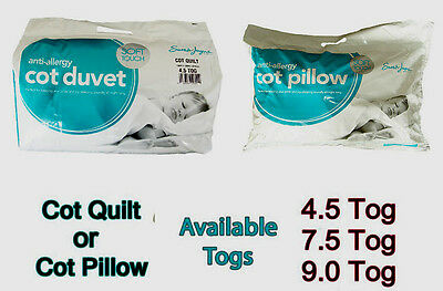 Anti-Allergy Toddler Baby Cot Bed Duvet Quilt,Pillow 4.5 7.5 and 9 Tog FREE POST