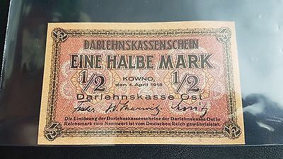 B-D-M Germany - Occupied Territories - Lithuania 1/2 mark 1918 Pick r127 SC UNC