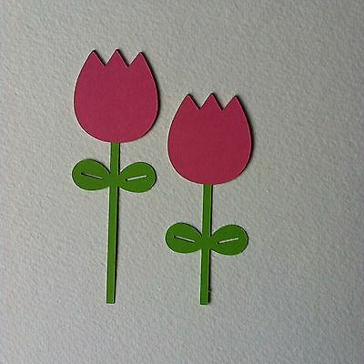 8 X Pairs Layered Pink Tulip Die Cut Shapes-Easter Spring Flowers