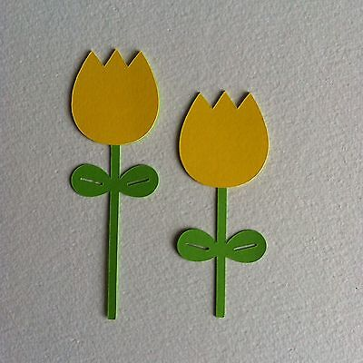 8 X Pairs Layered Yellow Tulip Die Cut Shapes-Easter Spring Flowers
