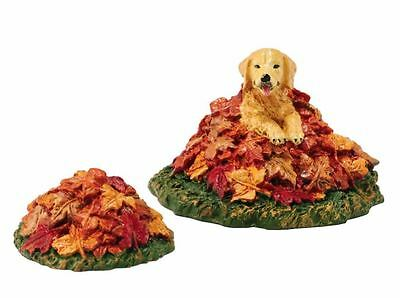 Department 56 Village Harvest Fields Dog in Leaves Accessory Figurine 4048720
