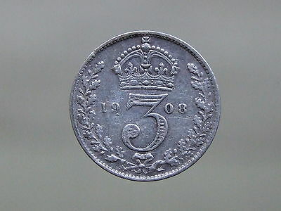 1908 Edward VII Sterling Silver Threepence, Nice Coin - FREE POSTAGE (E840)