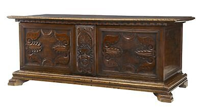 19Th Century Carved Walnut Coffer Chest