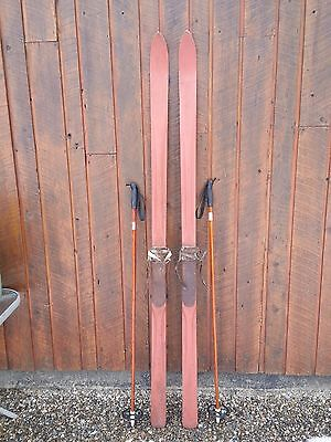 """BEAUTIFUL ANTIQUE Wooden 77"""" Long Skis with Metal Bindings and Bamboo Poles"""