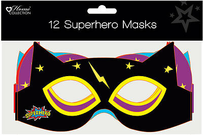 Pack of 12 Children's Cardboard Birthday Party Hats - Superhero Masks