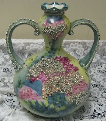 Nippon Moriage Gorgeous Early Hand Painted Dual Handle Floral Vase