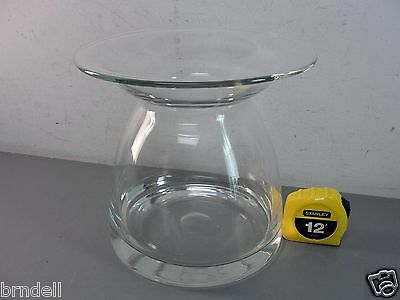 Mid Century Modern Retro Clear Lead Crystal Glass Vase Hand Made Blown Large Vtg