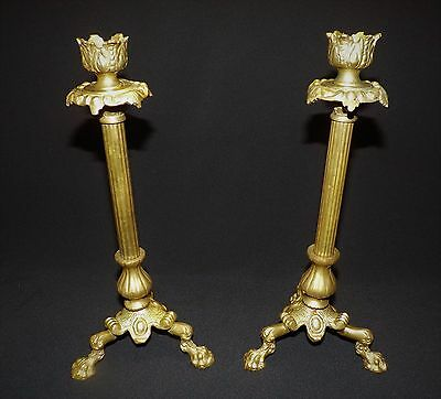 Vintage Pair of Candlesticks Solid Cast Brass Three Legged Chippendale VGC!