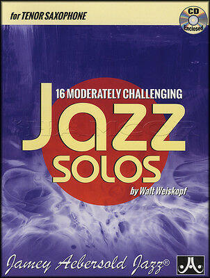16 Moderately Challenging Jazz Solos Tenor Sax Saxophone Sheet Music Book and CD
