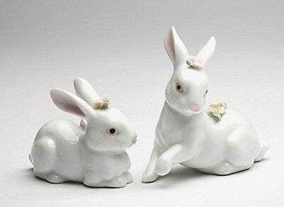 Pair of White Rabbits with Flowers Ceramic Easter Figurines 96180 Bunny New