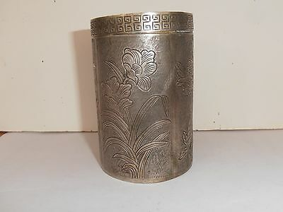 Antique Chinese Export SILVER Tea Opium container c1900 143 grams Flowers Lady