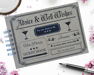 Personalised Vintage HEN PARTY Guest Book Photo Album HEN NIGHT Guest Book