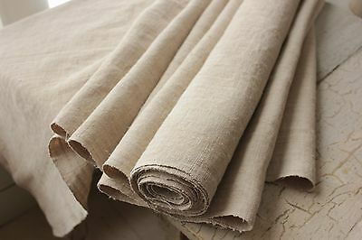 25.5 WIDE STRIATED old  linen antique fabric material 5.4 YDS WASHED material