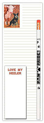 Australian Cattle Dog Notepad To Do List Pad Pencil Gift Set