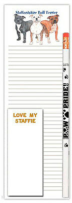 Staffordshire Bull Terrier Notepad To Do List Pad Pencil Gift Set