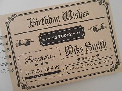 Personalised Vintage Birthday Guest Book Photo Album 30th 40th 50th 60th 70th 80