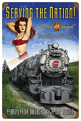 "12"" X 18"" - PRR - Serving the Nation! Pin-Up - 24 Gauge Metal Sign RR"