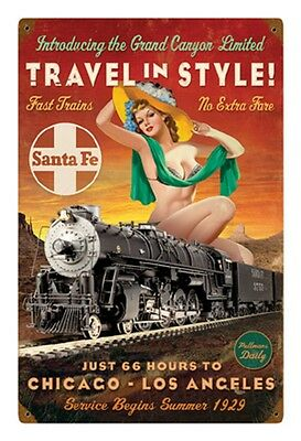 "12"" X 18"" - Santa Fe RR- ""Travel in Style"" - Pin Up - 24 Gauge Metal Sign"