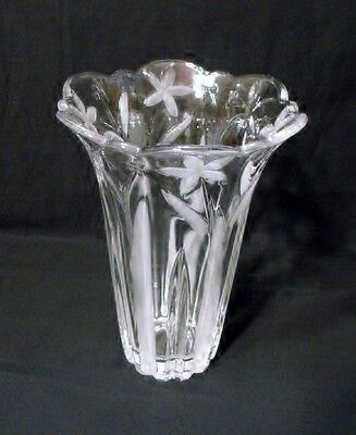"""Mikasa  Crystal  Flower Vase  Clear & Frosted Florals  Lead  Crystal  8"""" Tall"""