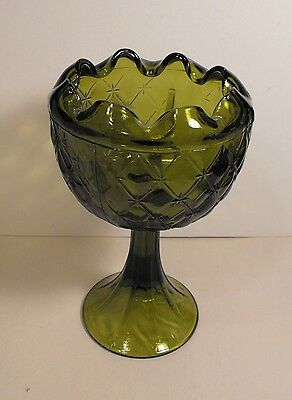 Indiana Glass  Compote Avocado Green Pedestal Footed Duette  Diamond Ruffled