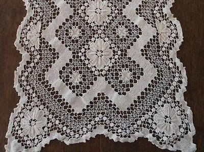 Vintage Filet Lace Lacis Table Runner Raised Rosettes Cream Dresser Scarf 26""