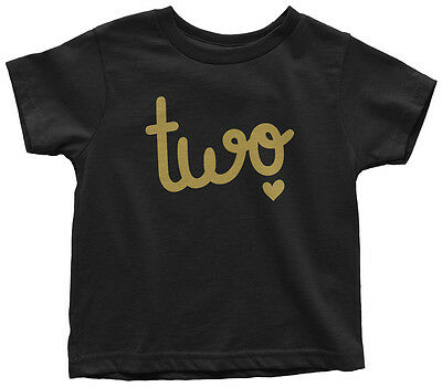 Two Year Old Birthday Toddler T-Shirt Happy 2nd Party Gift Heart 2