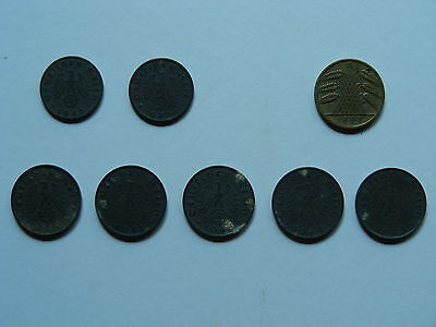 (Lot Of 8) Various Coins Of Germany (1929-1944)