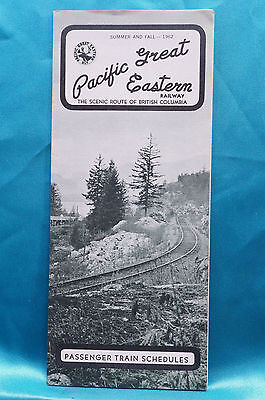 Pacific Great Eastern - Timetable - Summer and Fall - 1962
