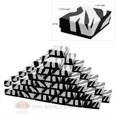 "50 Zebra Print Cotton Filled Jewelry Charm Pendant Gift Boxes  2 1/8"" X 1 5/8"""