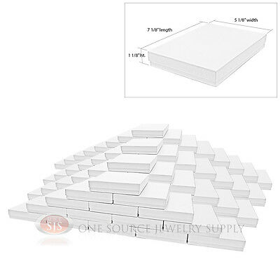 100 White Swirl Cardboard Cotton Filled Jewelry Gift Boxes 7 1/8 x 5 1/8 x 1 1/8