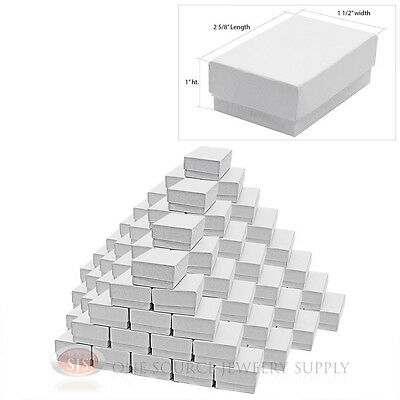 "100 White Swirl Cardboard Cotton Filled Jewelry Gift Boxes 2 5/8"" X 1 1/2"" X1"""