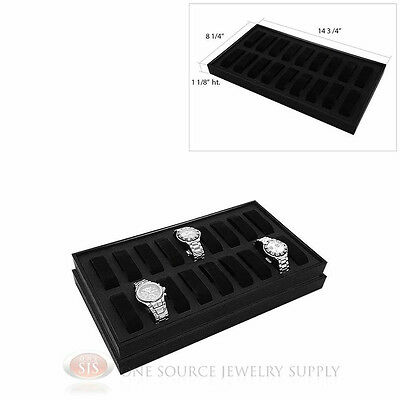 (2) Black Wooden Display Storage Watch Trays  w/ 18 Removable Holders