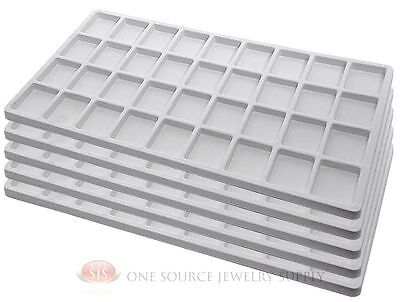 5 White Insert Tray Liners W/ 36 Compartments Drawer Organizer Jewelry Displays