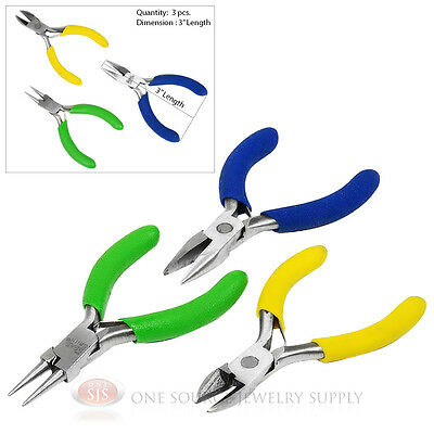 """3"""" Mini Jewelers Wire Working Plier Set Chain Round Nose Diagonal Cutting Pliers"""