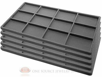 5 Gray Insert Tray Liners W/ 12 Compartments Drawer Organizer Jewelry Displays