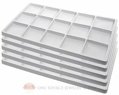 5 White Insert Tray Liners W/ 15 Compartments Drawer Organizer Jewelry Displays