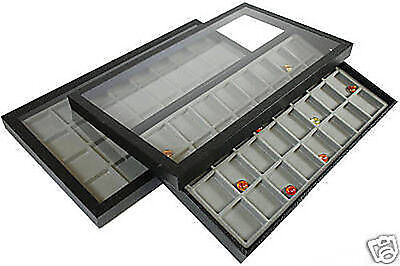 64 Compartment Acrylic Lid Jewelry Display Case Gray