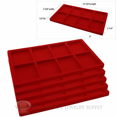 5 Red Insert Tray Liners W/ 8 Compartments Drawer Organizer Jewelry Displays