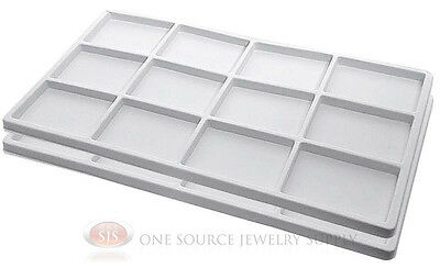 2 White Insert Tray Liners 12 Compartment Each Drawer Organize Jewelry Displays