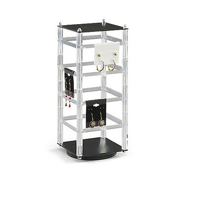 Earring Display Stand Acrylic Revolving Rotating For Hanging Cards Holds 32