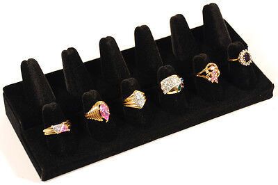 12 Ring 2 Tier Finger Black Velvet Jewelry Display Stand Showcase Counter-Top