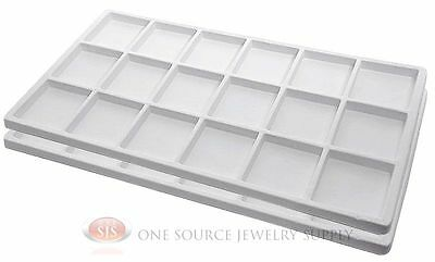 2 White Insert Tray Liners W/ 18 Compartments Drawer Organizer Jewelry Displays