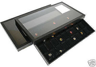 2-36 Compartment Acrylic Lid Jewelry Display Case Black