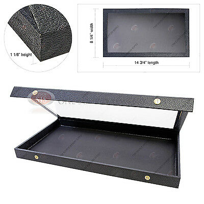 Acrylic Lid Snap Top Jewelry Display Case Wood Faux Leather Full Size Organizer