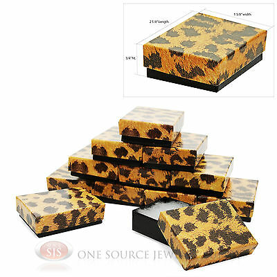 """12 Leopard Print Cotton Filled Gift Boxes 1 7/8"""" x 1 1/4"""" Jewelry Charm Ring Box"""